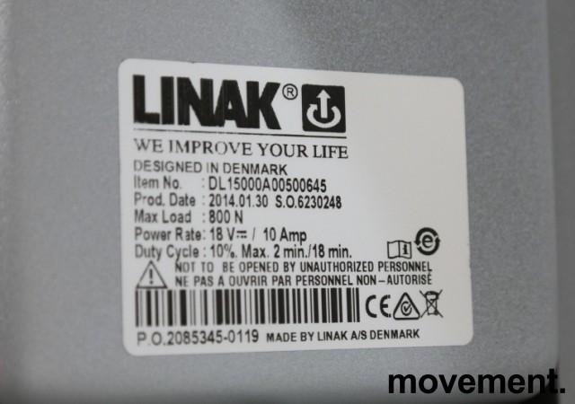 Skrivebord med elektrisk hevsenk i hvitt / grått fra Linak, 160x80cm, pent brukt understell med ny plate bilde 5