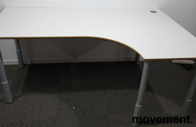 Hjørneskrivebord i lys grå / grå, 180x120cm, høyreløsning, pent brukt bilde 1
