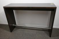 Barbord / ståbord i brunbeiset eik, 160x50cm, høyde 110cm, brukt med noe slitasje
