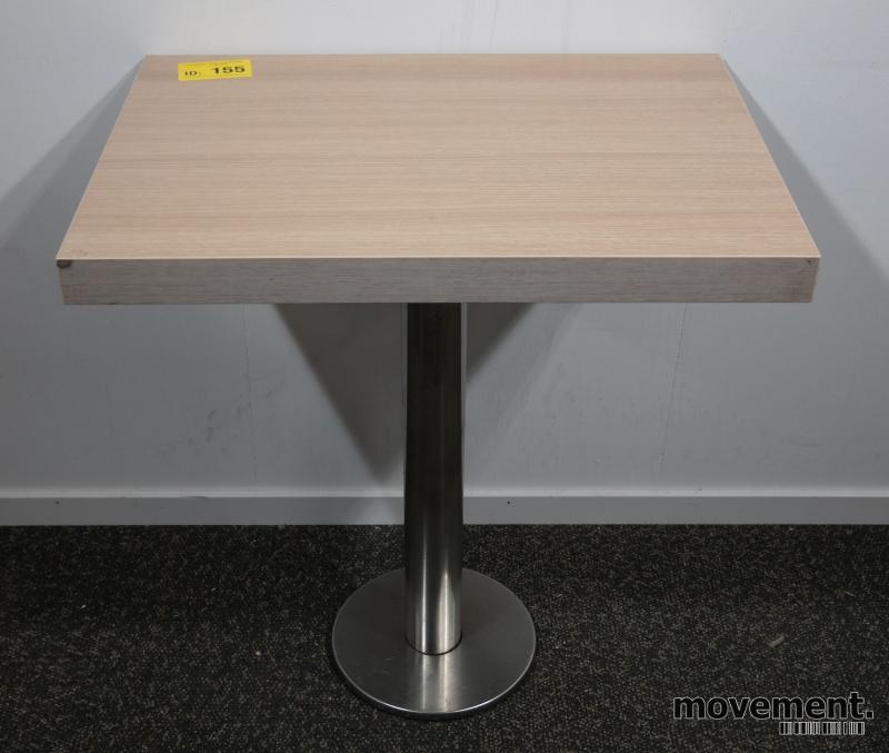 Kafebord med plate i lys eikelaminat, understell i satinert stål for montering i gulv, 69x49cm, H=76cm, pent brukt bilde 1