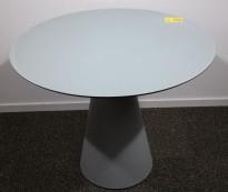 Rundt kafebord / bord for uteservering i grått, Ø=89cm, brukt med noe slitasje