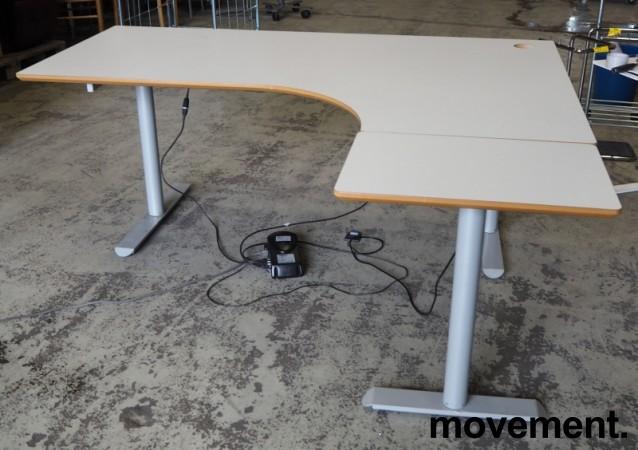 Hjørneløsning / skrivebord med elektrisk hevsenk i lys grå fra Linak. 180x160cm høyreløsning, pent brukt bilde 2