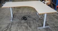 Hjørneløsning / skrivebord med elektrisk hevsenk i lys grå fra Linak. 180x160cm høyreløsning, pent brukt