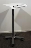Talerstol på hjul i hvitlakkert metall, 46x37cm, 107cm høyde, Anthro Technology Furniture, pent brukt