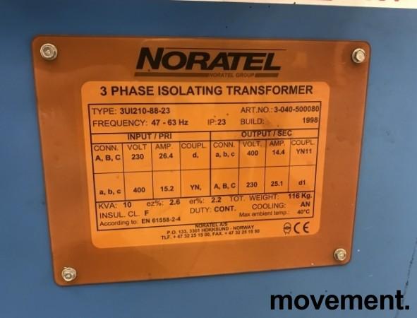 Noratel Transformator 3fas 10KVA, 230Volt 26,4A / 400Volt 14,4A, IP23, pent brukt bilde 3