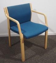 Stablestol i blått stoff / bøk, pent brukt