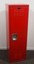 Garderobeskap i rødlakkert stål fra Hallowell, 38x38cm, høyde 122cm, pent brukt