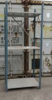 Lagerreol / stålreol i lys grå / blå, høyde 250cm, hylleplater 100x60cm, brukt