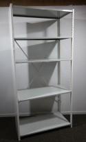 Lagerreol / stålreol i hvitt, høyde: 220cm, 100cm bredde, 1 fag, 50cm dybde, pent brukt
