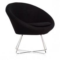 Loungestol i sort stoff / krom, Paris fra Altistore, pent brukt