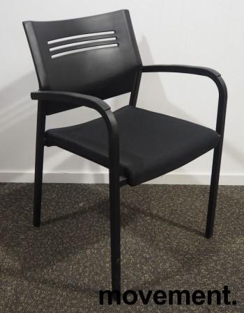 Konferansestol / stablestol i sort fra EFG, pent brukt bilde 1