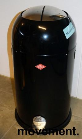 Wesco avfallsspann, Kickmaster 33 liter, sort / krom, pent brukt bilde 2