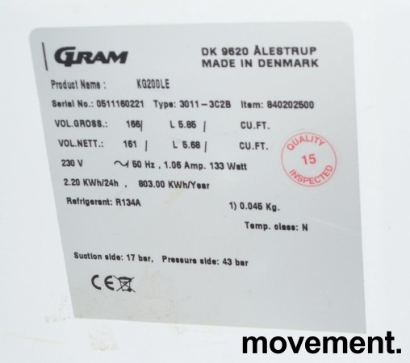 Underbenk kjøleskap med glassdør fra Gram, modell KG200LE, 60cm bredde, 83,5cm høyde, pent brukt bilde 3