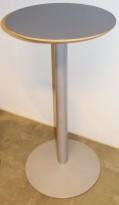 Ståbord med grå plate Ø=60cm, solid/tungt understell i lysegrått metall, 113cm høyde, pent brukt