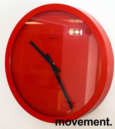 Veggklokke / veggur i rødt fra Jan Des Bouvrie, Ø=X, pent brukt bilde 1