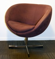 ForaForm Planet Loungestol i lilla/plomme comfort / krom, design: Svein Ivar Dysthe, Norsk klassiker, pent brukt