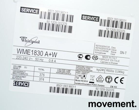 Whirlpool WME1830 A+W kjøleskap i hvitt, høyde 179,5cm, pent brukt bilde 3