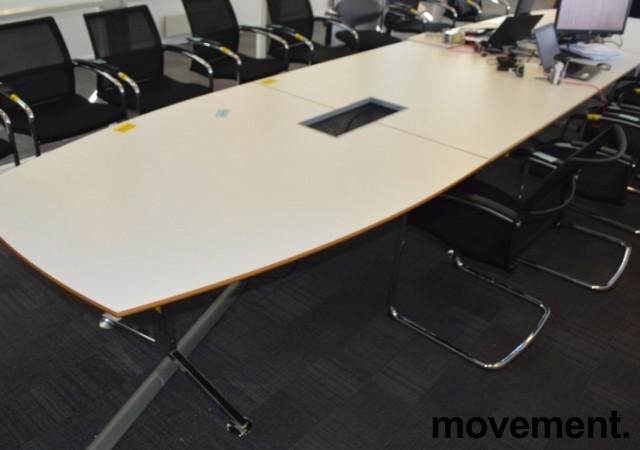 Stort møtebord i hvitt / krom, 530x120cm, passer 16-20 personer, pent brukt bilde 1