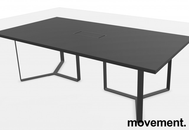 Konferansebord / møtebord i mørk grå, modell Plana, 240x120cm, kabelboks, passer 8-10 personer, NY / UBRUKT bilde 2