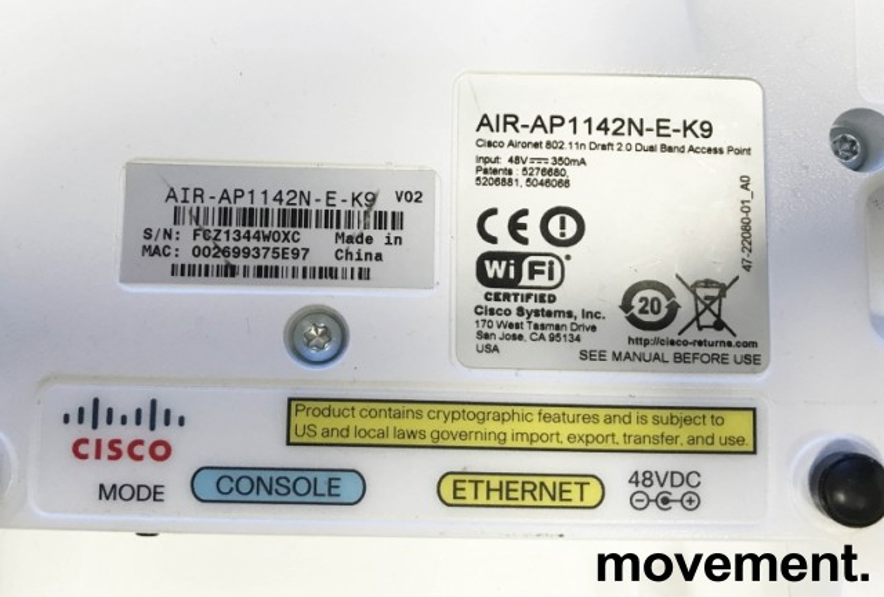 Cisco Accesspoint for wireless-controller, AIR-AP1142N-E-K9 v02, pent brukt bilde 2