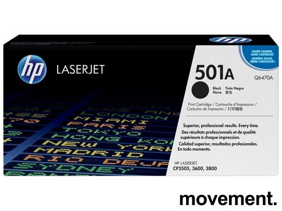Original toner HP Q6470A (501A) for Laserjet CP3505, 3600, 3800, NY/UBRUKT