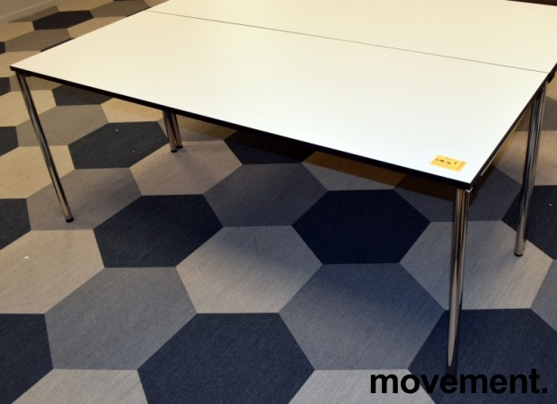 Kompakt møtebord / kantinebord fra Dencon i hvitt med sort kant, sammenleggbart, 180x70cm, pent brukt bilde 4