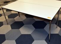 Kompakt møtebord / kantinebord fra Dencon i hvitt med sort kant, sammenleggbart, 180x70cm, pent brukt