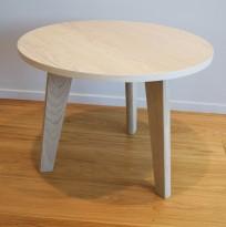 Lavt loungebord / kaffebord, eik finer plate, heltre eik ben, Ø=60cm, 45cm høyde, pent brukt