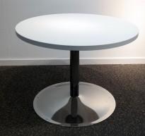 Loungebord i hvit / krom, Ø=70cm, høyde 53 cm, pent brukt understell med ny plate