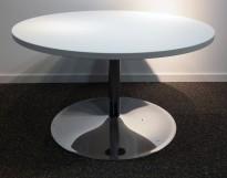 Loungebord i hvit / krom, Ø=90cm, høyde 53 cm, pent brukt understell med ny plate