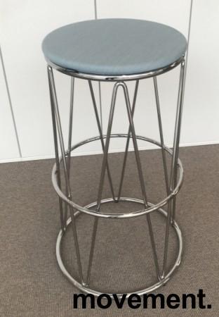 Barstol / barkrakk fra Materia, modell Elephant i lys blå / krom, 80cm sittehøyde, pent brukt bilde 2