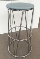 Barstol / barkrakk fra Materia, modell Elephant i lys blå / krom, 80cm sittehøyde, pent brukt