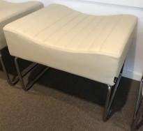 Sittebenk / loungemøbel, 1-seter i grått skinn fra Kinnarps, modell Libra, 62cm bredde, pent brukt