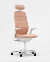 Kontorstol fra Kinnarps: Modell Capella i rosa/hvitt, høy rygg, armlener, nakkepute, krom kryss, pent brukt