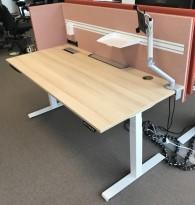 Skrivebord elektrisk hevsenk, Kinnarps, eik laminat bordplate, hvitt understell, rosa vegg, 180x80cm, pent brukt