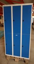 Garderobeskap i stål fra AJ Produkter, 6 rom / 2 høyder, lysegrått med blå dører, bredde 90cm, høyde 174cm, pent brukt