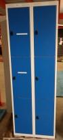 Garderobeskap i stål fra AJ Produkter, 6 rom / 3 høyder, lysegrått med blå dører, bredde 60cm, høyde 174cm, pent brukt