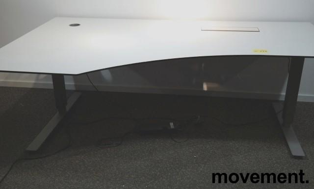 Skrivebord med elektrisk hevsenk i hvitt / grått fra EFG, 200x120cm, venstreløsning, pent brukt bilde 1