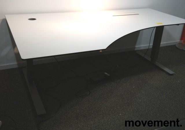 Skrivebord med elektrisk hevsenk i hvitt / grått fra EFG, 200x120cm, venstreløsning, pent brukt bilde 2