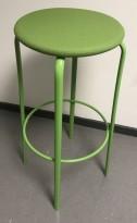 Barkrakk i grønn farge, Kinnarps modell Frisbee, sete i ullstoff,  understell i metall, 79cm sittehøyde, pent brukt