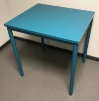 Lite avlastningsbord med plate og understell i dyp turkis farge, 70x60x72,5cm, Kinnarps Origo, pent brukt