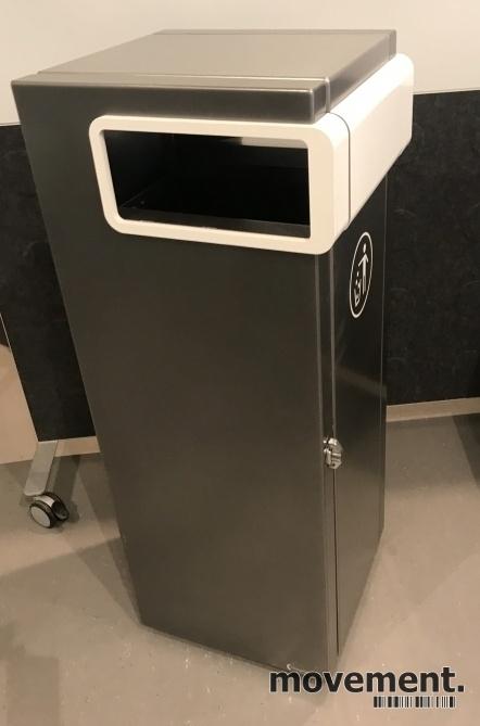 Lekker avfalssbøtte for offentlig miljø fra Røros Produkter, modell Nobel 100Liter frittstående, pent brukt bilde 2