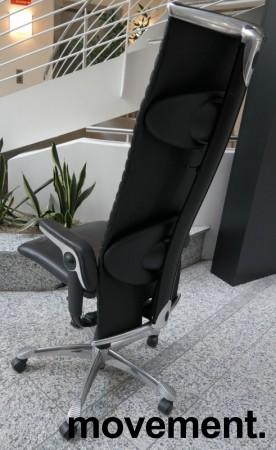 HÅG H09 9330 Excellence eksklusiv kontorstol i sort skinn og krom, pent brukt bilde 2