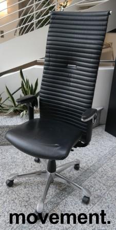 HÅG H09 9330 Excellence eksklusiv kontorstol i sort skinn og krom, pent brukt bilde 1