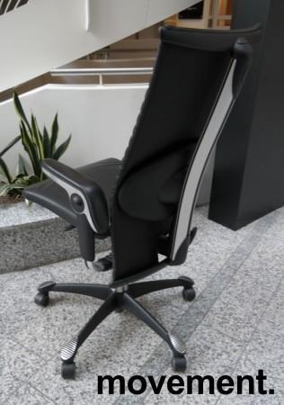HÅG H09 Excellence 9320 kontorstol i sort skinn og krom, pent brukt bilde 2