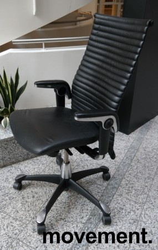 HÅG H09 Excellence 9320 kontorstol i sort skinn og krom, pent brukt bilde 1