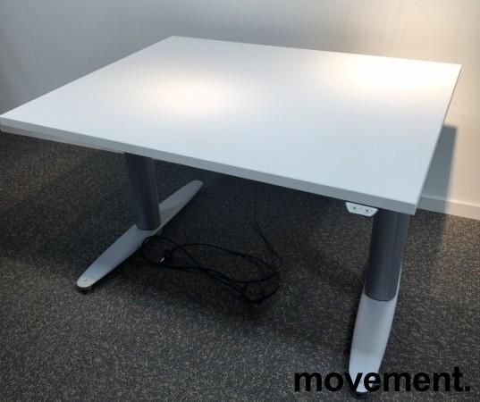 Kinnarps T-serie kompakt elektrisk hevsenk skrivebord 100x80cm i hvitt, pent brukt understell med ny plate bilde 2