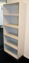 Åpen ringpermreol / bokhylle fra Martela i lys grå, Combo-serie, 5permhøyder, 206cm høyde, pent brukt