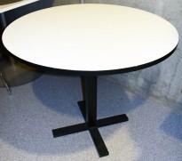 Lite, rundt møtebord fra Ragnars R5 Work.Meeting serie i hvitt/sort, Ø=90cm, pent brukt