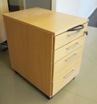 Kinnarps skuffseksjon på hjul i bøk, E-serie, 4 skuffers, 40cm bredde, 61cm høyde, pent brukt
